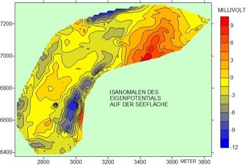 Geophysik Eigenpotential-Karte Seemessung Isanomalen Strömungspotential